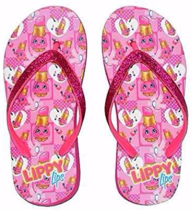 Give10Back 752229366251 Shopkins Little Girls Wedge Flip Flop Sandals-Lippy Lips Black Friday Cyber Monday Give Ten Back Give 10 Back