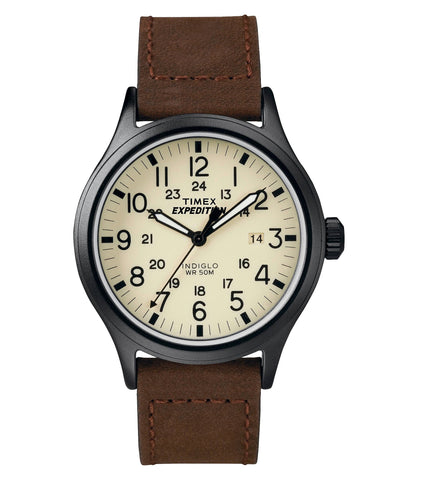 Give10Back 753048516247 Men's Timex Expedition® Scout Watch with Leather Strap - Black/Brown T49963JT Give 10 Back Give Ten Back