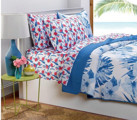 Give10Back 783048999283 Hot Now White & Blue Palm Flower  3-pc Quilt Set - Size Full/Queen Give 10 Back Give Ten Back