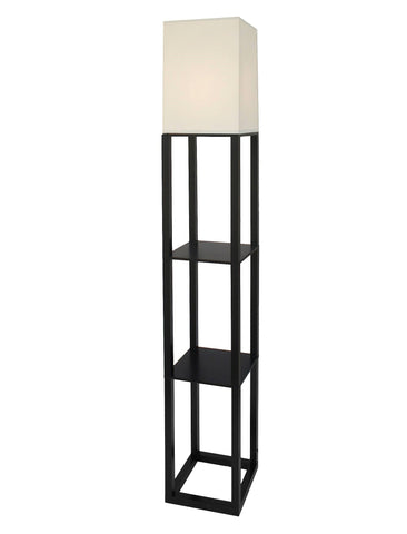 Give10Back 798919021130 Threshold Shelf Floor Lamp with White Shade - Black Give 10 Back Give Ten Back