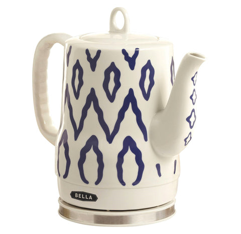 Give10Back 829486137242 Bella Electric Ceramic Kettle, White with Blue Aztec Design Give 10 Back Give Ten Back