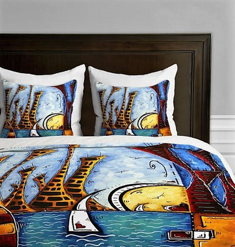 Give10Back 887522005481 DENY Designs Madart Inc. City By The Bay Duvet Cover, King Give 10 Back Give Ten Back