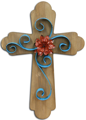 Extra Large Wood And Metal Cross With Blue Swirl And Red Flower 3D Metal Design Rustic 16 x 24 x 1.25 Inches