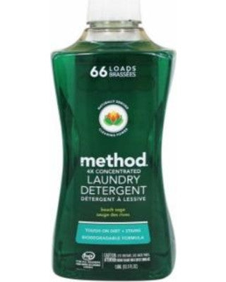 Give10Back Method 4x Concentrated Laundry Detergent, Beach Sage, 53.5 Ounce, 66 Loads