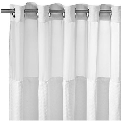 Hookless Fabric Shower Curtain White Waffle 71 W 98 L (Inches) Give10Back GiveTenBack