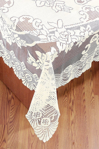 Ritz 63-Inch by 108-Inch Oblong Lace Tablecloth, White