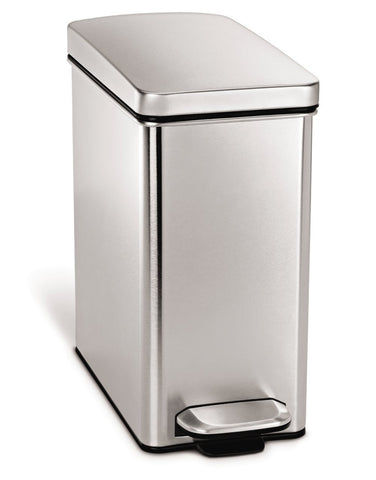 SimpleHuman Profile Step Rectangular Trash Can, Stainless Steel, 10 L - 2.6 Gal Give10Back GiveTenBack