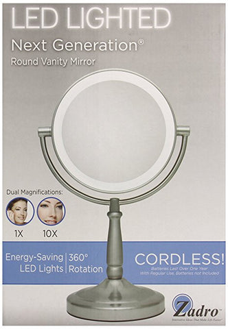 Zadro 10x Mag Next Generation LED Cordless Double Sided Round Vanity Mirror, 5.5-Inch, Satin Nickel Finish Give10Back GiveTenBack