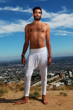 White-Cotton-Organic-Kundalini-Mens-Yoga-Pants-Clothes