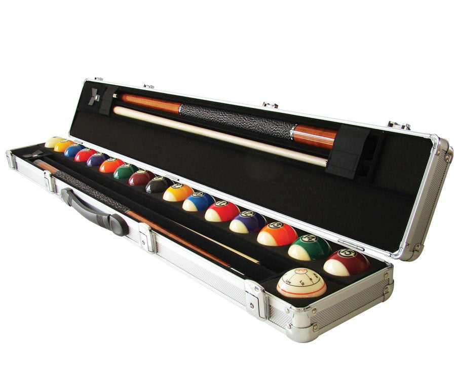 Aramith 2 Shaft 2 Butt Pool Cue & Ball Set Case