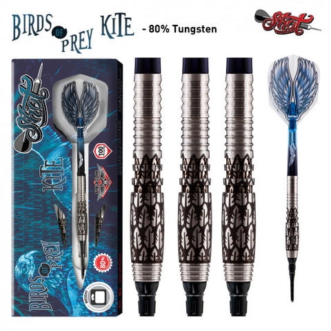 BIRDS OF PREY KITE SOFT TIP DART SET-FRONT WEIGHTED 80% TUNGSTEN BARRELS