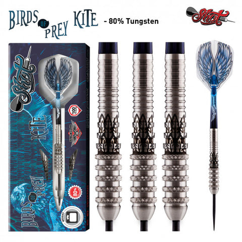 BIRDS OF PREY KITE STEEL TIP DART SET-FRONT WEIGHTED 80% TUNGSTEN BARRELS