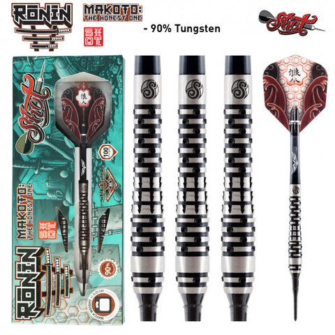 RONIN MAKOTO SOFT TIP DART SET - FRONT WEIGHTED 90% TUNGSTEN BARRELS
