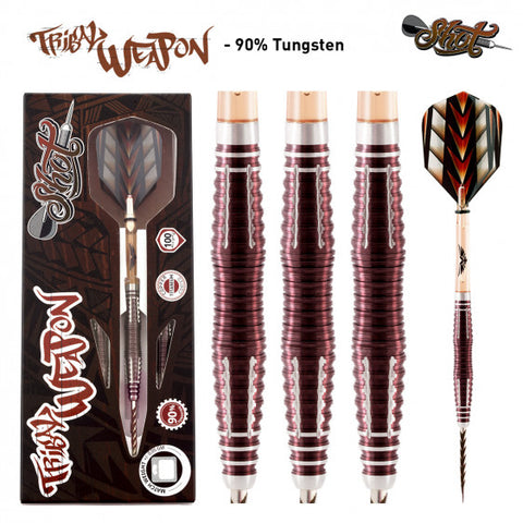 TRIBAL WEAPON 3 SERIES STEEL TIP DART SET-CENTRE WEIGHTED 90% TUNGSTEN BARRELS