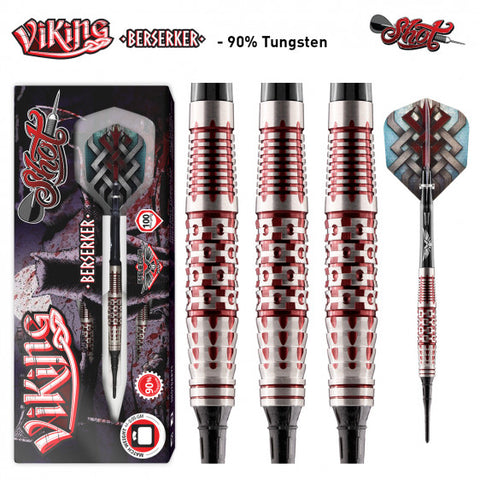 VIKING BERSERKER STEEL TIP DART SET-CENTRE WEIGHTED 90% TUNGSTEN BARRELS