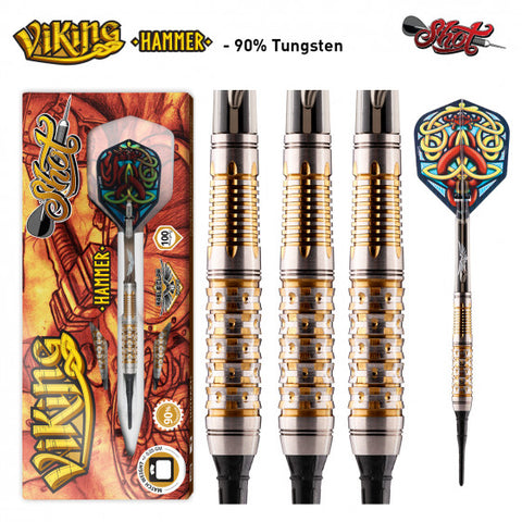 VIKING HAMMER SOFT TIP DART SET-FRONT WEIGHTED 90% TUNGSTEN BARRELS