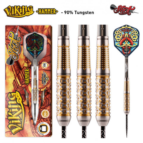 VIKING HAMMER STEEL TIP DART SET-FRONT WEIGHTED 90% TUNGSTEN BARRELS