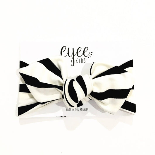 Black and White Stripe Top Knot Headband
