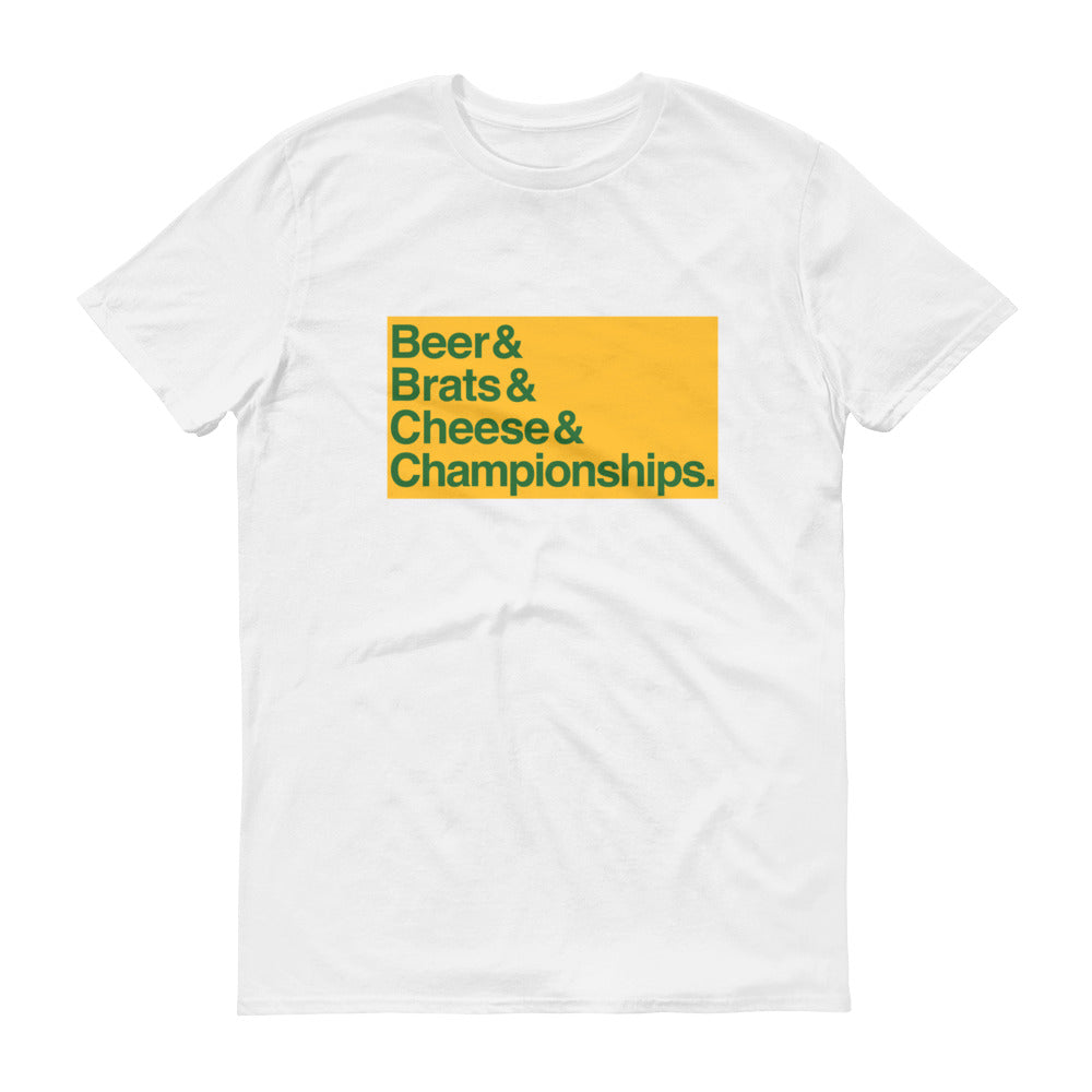 Beer & Brats & Cheese & Championships Short-Sleeve T-Shirt