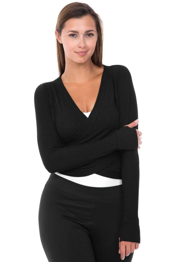 Long Sleeve Wrap Top Loose Fashion Deep V-Neck Shirt - S / Black - Tops