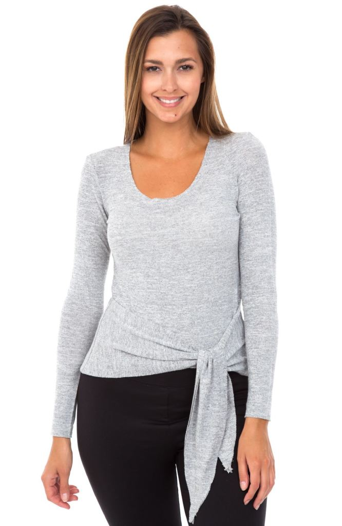 grey long sleeve tie front crop top women's kismet couture
