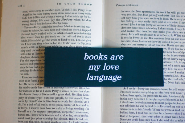 The Love Language Bookmark in forest