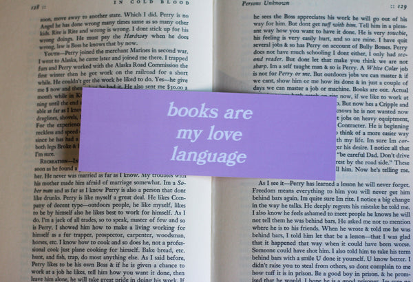 The Love Language Bookmark in lavender