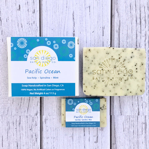 Pacific Ocean Soap is made with Sea Kelp, Spirulina and Mint