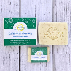 California Therapy Soap is made with rosemary, mint and ground oatmeal