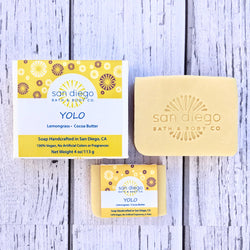 YOLO Soap is made with Lemongrass and Cocoa Butter