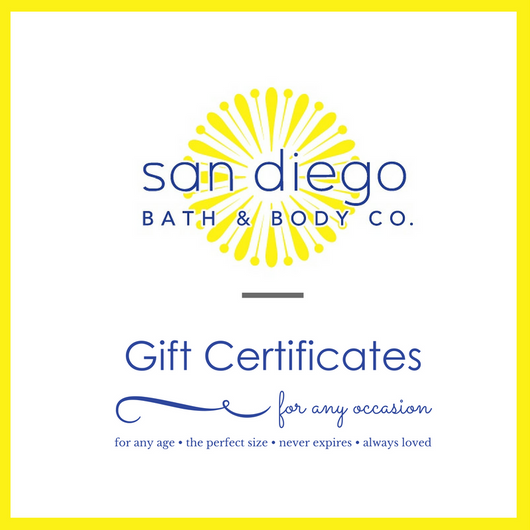 San Diego Bath and Body Co. Gift Certificates for any occasion