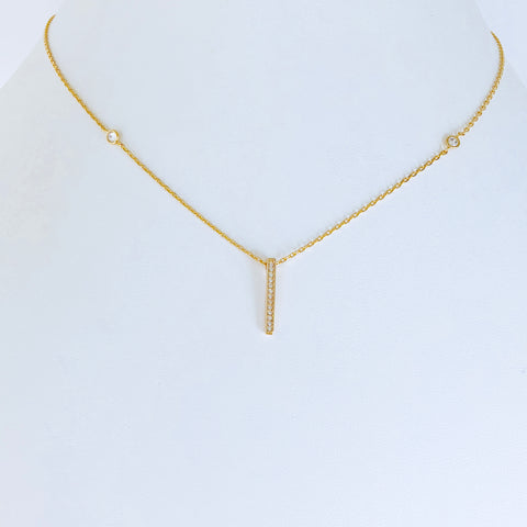 Austin Zirconia Gold Bar Necklace