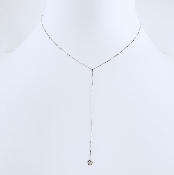 Austin Rhodium Zirconia Drop Necklace