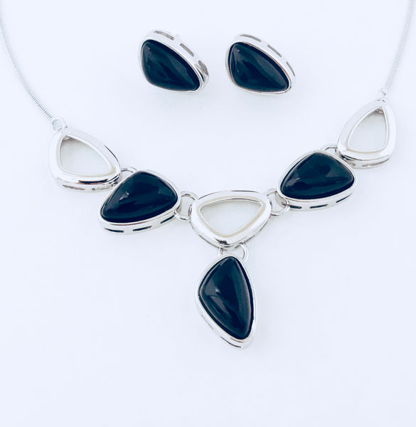 Tokyo Black Agate Rhodium Necklace & Earring Set