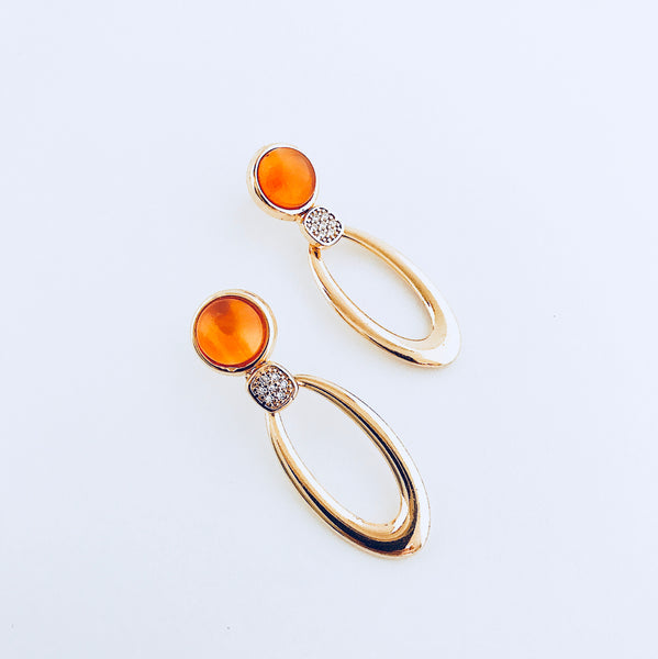 Red Agate & Zirconia Earring
