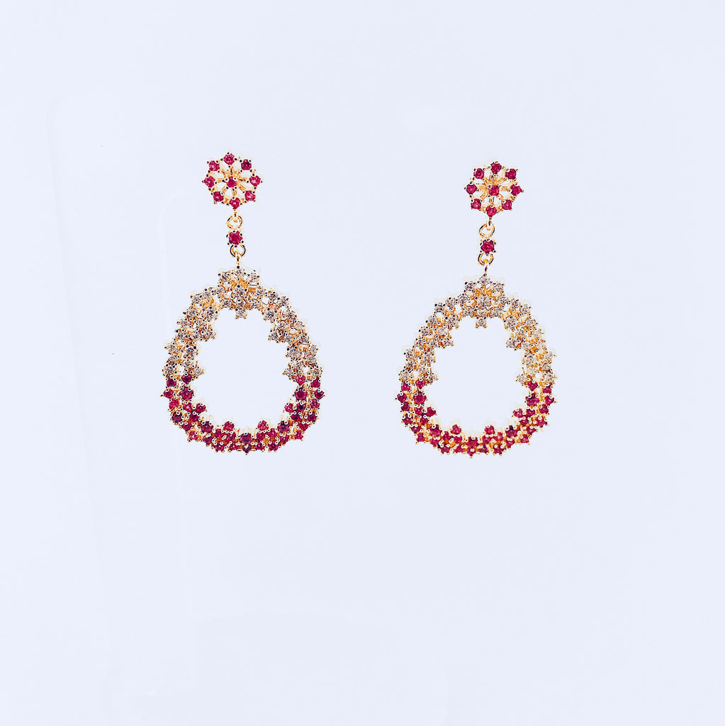 NYC Pink & White Zirconia Earring