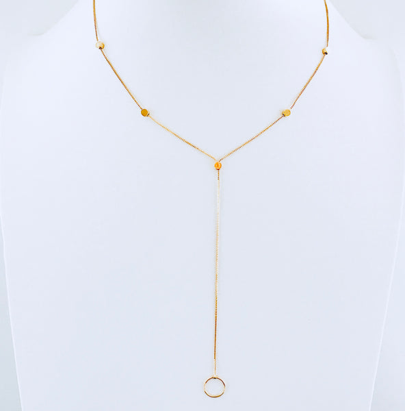 Gold Circle Drop Necklace