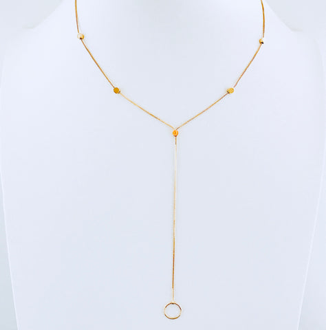 Austin Gold Circle Drop Necklace