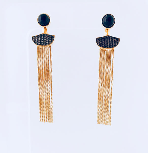 NYC Black Agate 2-in-1 Earring