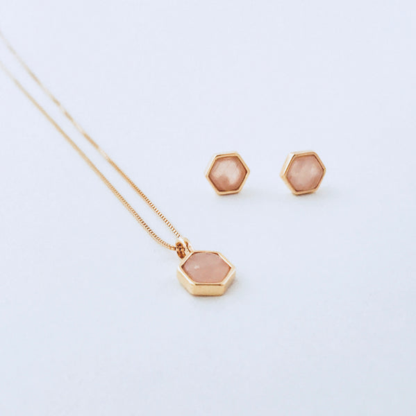 NYC Pink Quartz Necklace & Earring Set