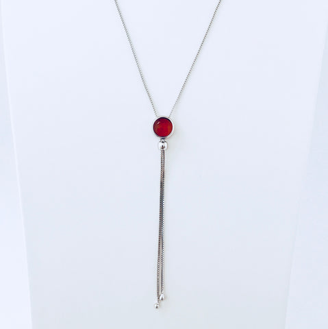 Sydney Red Agate Rhodium Necklace