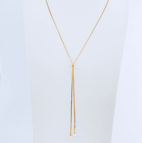 Gold Pearl Adjustable Necklace