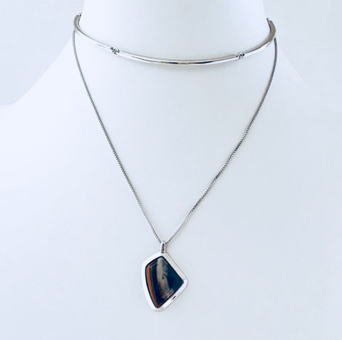 NYC Jasper Rhodium Necklace