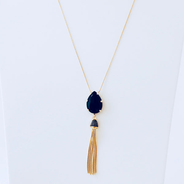 NYC Black Agate Tassel Necklace