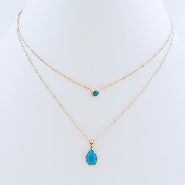 Teal Crystal Layered Necklace