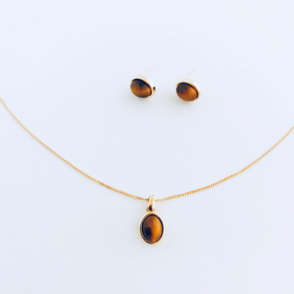 Tiger's Eye Necklace & Earring Set