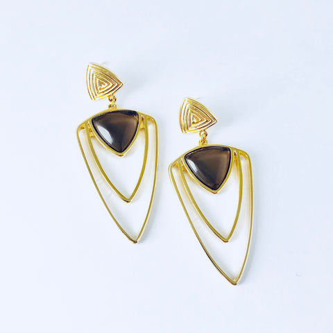 NYC Smoky Obsidian Triangle Earring