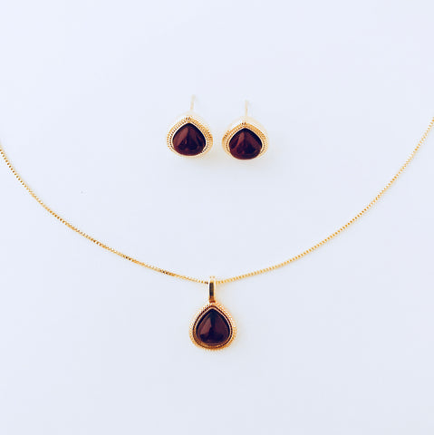 Red Agate Necklace & Earring Set