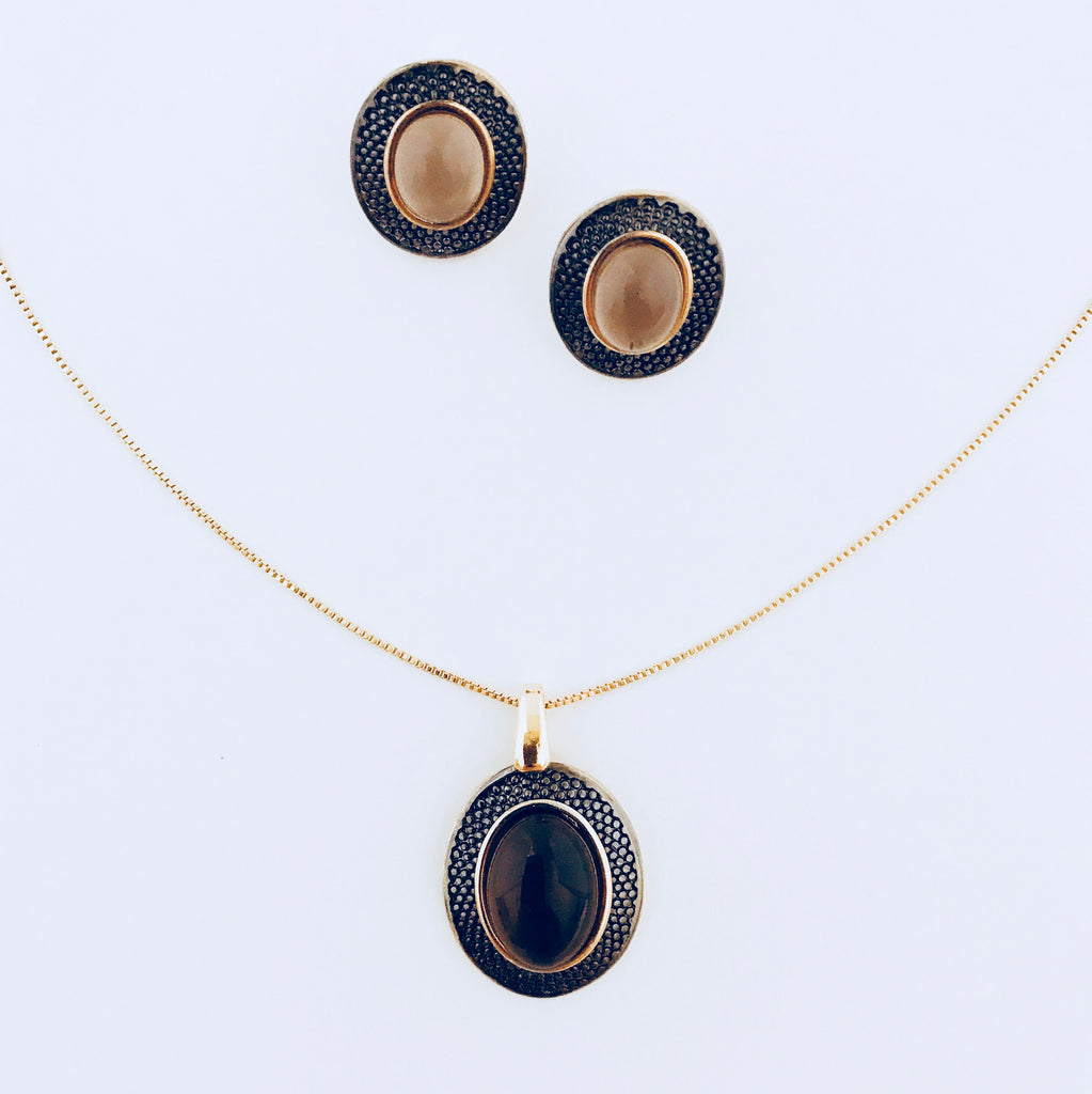 NYC Smoky Obsidian Vintage Necklace & Earring Set
