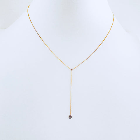 Gold Zirconia Drop Necklace